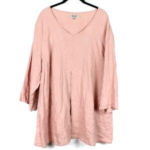 Flax 2G Peach Linen Blouse Top Shirt 22-24